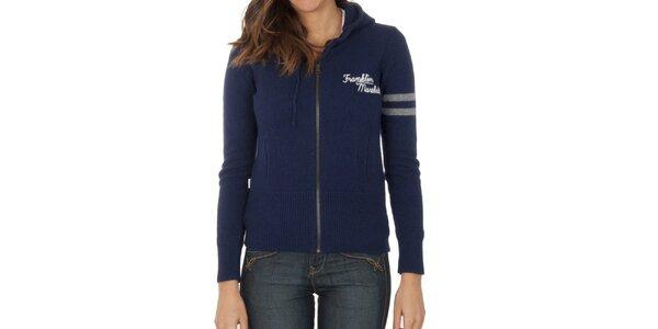 Dámsky tmavo modrý sveter na zips Franklin & Marshall