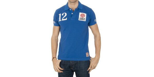 Pánske modré polo tričko s číslom Franklin & Marshall