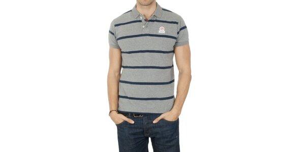 Pánske šedé pruhované polo tričko Franklin & Marshall