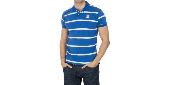 Pánske modré pruhované polo tričko Franklin & Marshall