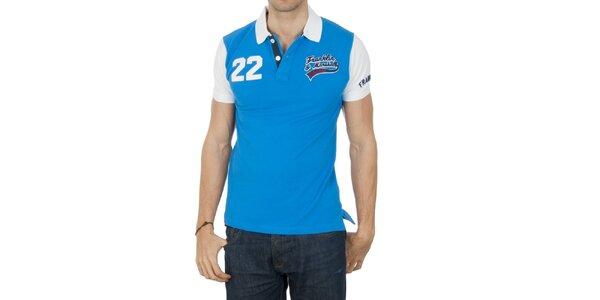 Pánske modré polo tričko s bielymi rukávmi Franklin & Marshall