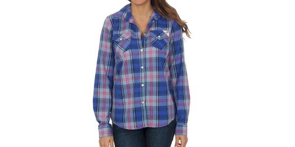 Dámska modro-ružová kockovaná košeľa s dlhým rukávom Franklin & Marshall