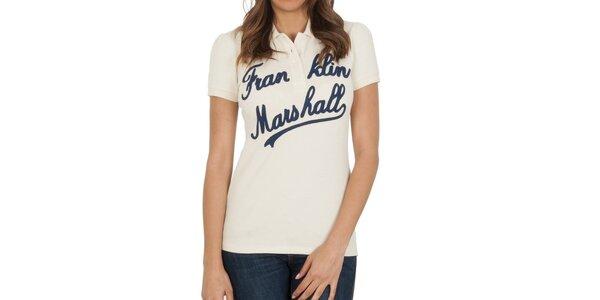 Dámske krémové polo tričko s nápisom Franklin & Marshall