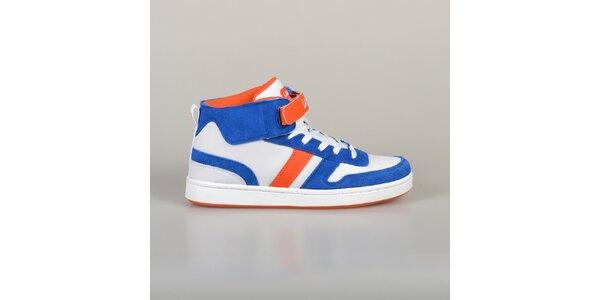 Pánske modro-oranžovo-biele tenisky Lando