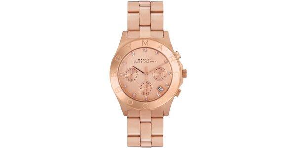 Dámske pozlátené ocelové hodinky Marc Jacobs vo farbe ružového zlata