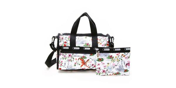 Dámska biela cestovná taška s farebnou potlačou a popruhom cez rameno LeSportSac