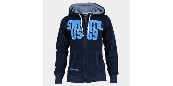 Dámska indigovo modrá mikina Sweep s kapucou a zipsom