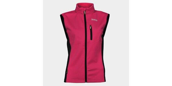 Dámska ružová softshellová vesta Sweep s čiernymi detailami