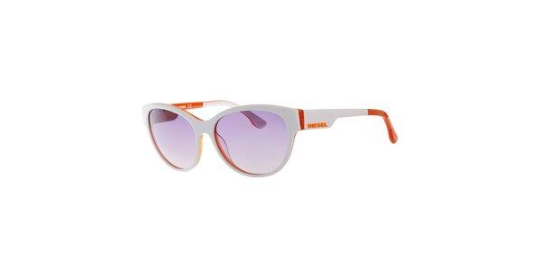 Dámske bielo-oranžové slnečné okuliare so šedými sklami