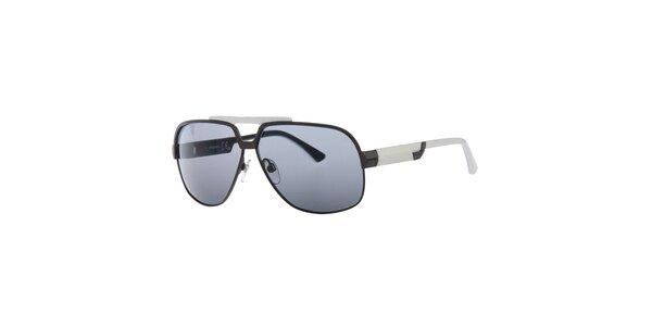 Pánske čierno-biele slnečné okuliare s tmavo šedými sklami Diesel