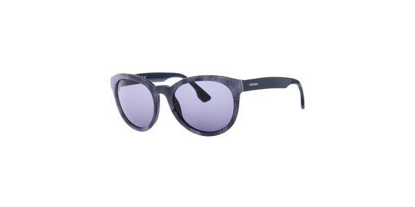 Dámske šedé slnečné okuliare Diesel so vzorom a modro zafarbenými sklami