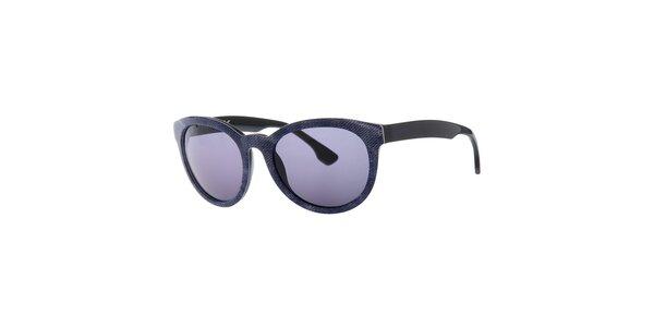 Dámske modro-čierne slnečné okuliare Diesel so vzorom a modro zafarbenými sklami