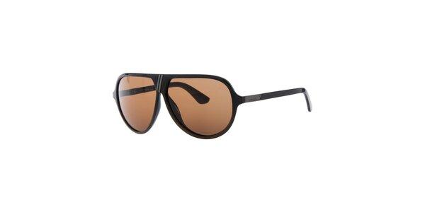 Pánske retro čierne slnečné okuliare s oranžovými sklami Diesel