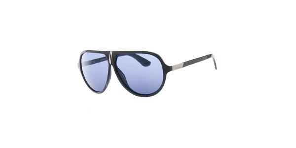 Pánske retro čierne slnečné okuliare s modrými sklami Diesel