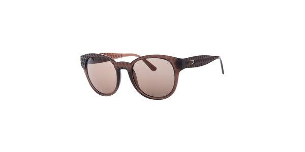 Dámske hnedé slnečné okuliare s reliéfnym povrchom Diesel