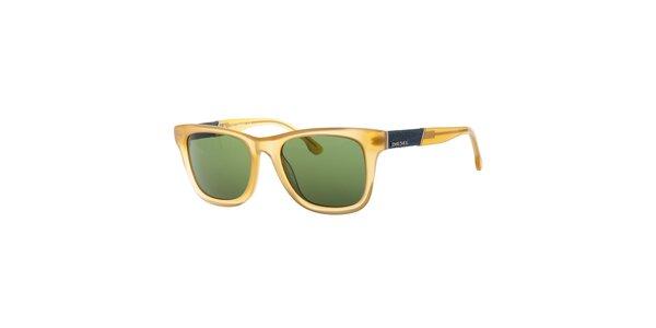 Dámske transparentné žlté slnečné okuliare Diesel