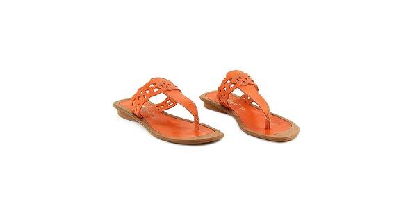 Dámske oranžové kožené žabky La Bellatrix