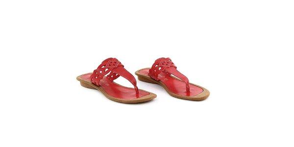 Dámske červené kožené žabky La Bellatrix