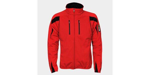 Pánska červená softshellová bunda Sweep s čiernymi detailami