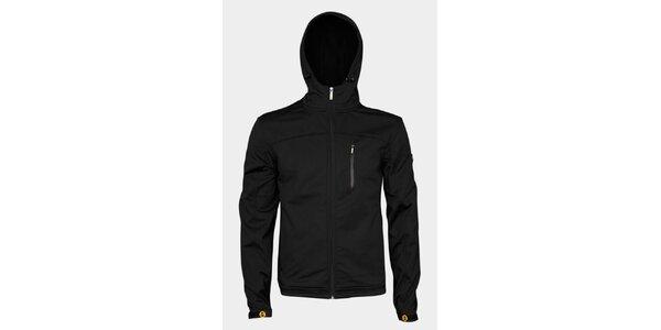Pánska čierna softshellová bunda Sweep s kapucou