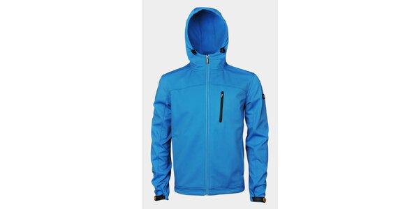 Pánska svetlo modrá softshellová bunda Sweep s kapucou