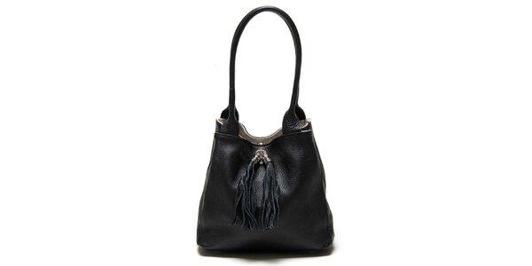 Dámska čierna kožená taška so strapcami Luisa Vannini
