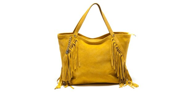 Dámska žltá kabelka so strapcami Luisa Vannini