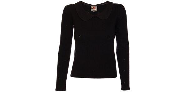 Dámsky čierny sveter Yumi s bubi límčekom