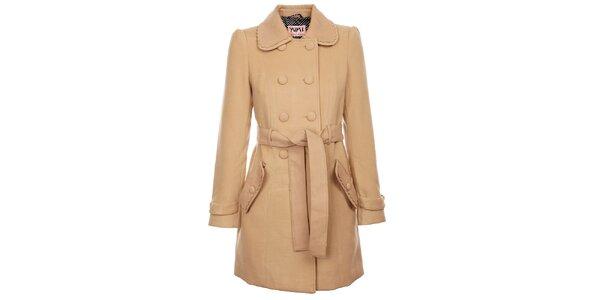 Dámsky svetlo béžový zimný kabát Yumi