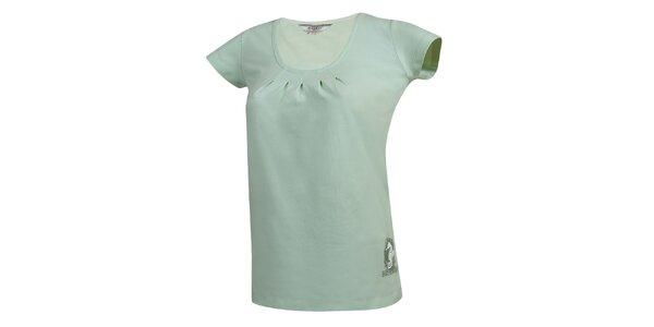 Dámske svetlo zelené tričko s nariaseným dekoltom Bushman