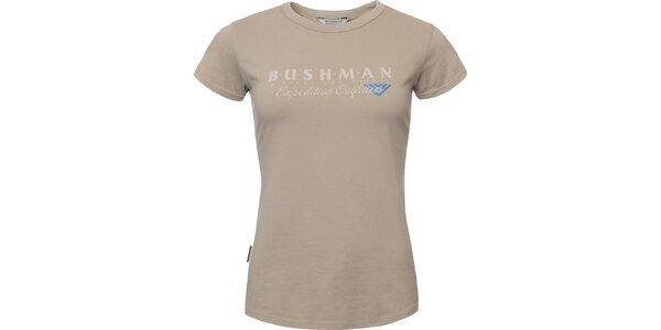 Dámske béžové tričko s nápisom na hrudi Bushman