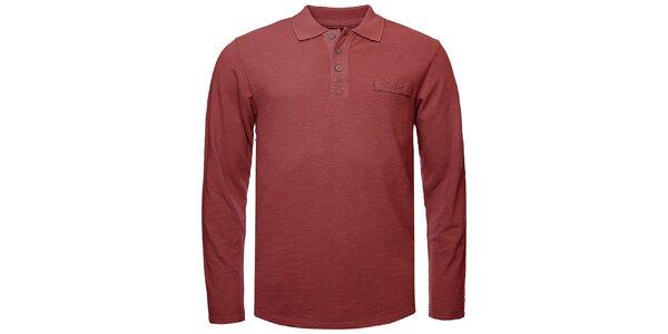 Pánske vínové polo tričko s dlhým rukávom Bushman
