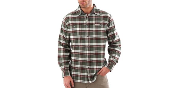 Pánska khaki károvaná košeľa Bushman