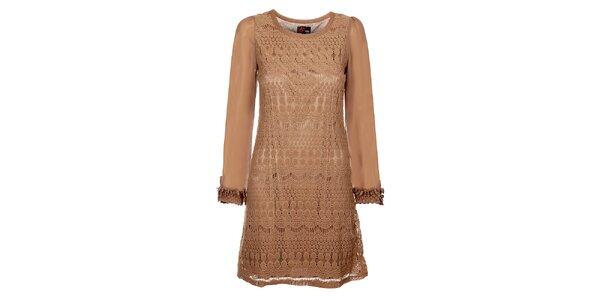Dámske béžové čipkové šaty Yumi
