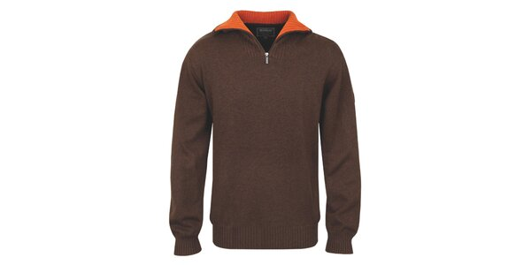 Pánsky hnedý polozapínací sveter s oranžovým golierom Bushman