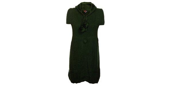 Dámske zelené pletené šaty Yumi s kapucou a brmbolcami