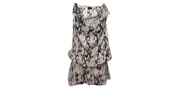 Ľahučké šedočierne nariasené šaty