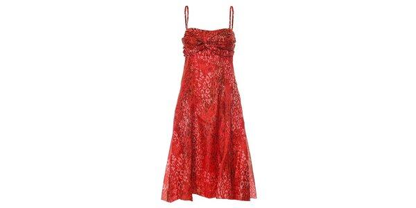 Hodvábne červené šaty Pietro Filipi so zvieracou potlačou