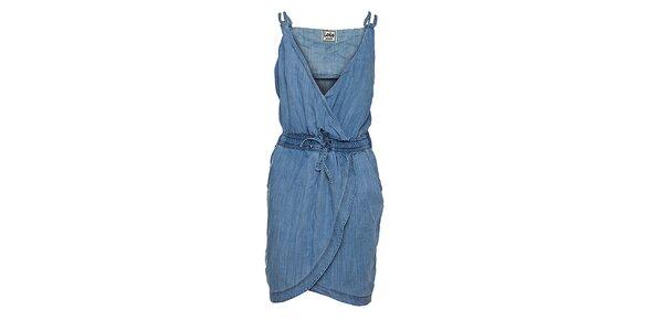 Dámske bledo modré džínsové šaty Lois so zavinovacou sukňou