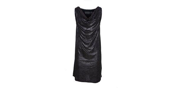 Dámske čierne šaty Lois so striebornými trblietkami