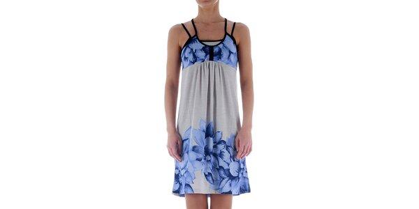 Dámske svetlo šedé šaty Freesoul so svetlo modrou potlačou