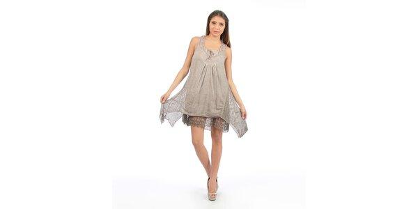 Dámske hnedé šaty s čipkou Anabelle