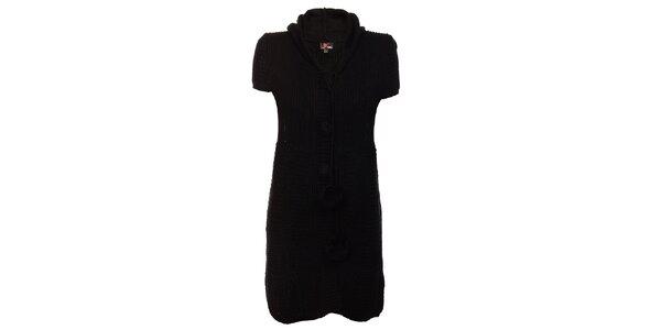 Dámske čierne pletené šaty Yumi s kapucou a brmbolcami