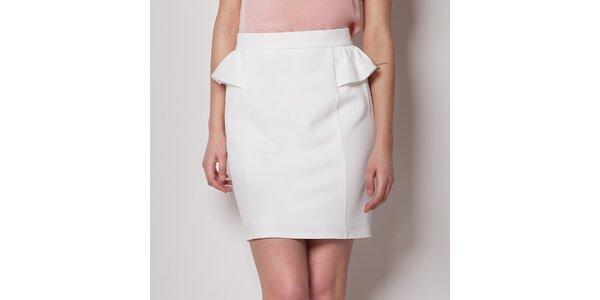 Dámska biela púzdrová sukňa Figl s volánikom
