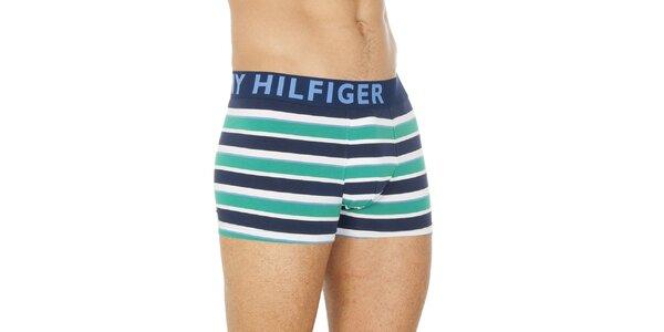 Pánske zeleno-modré pruhované boxerky Tommy Hilfiger