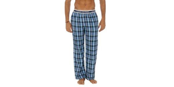 Pánske modré kárované pyžamové nohavice Tommy Hilfiger