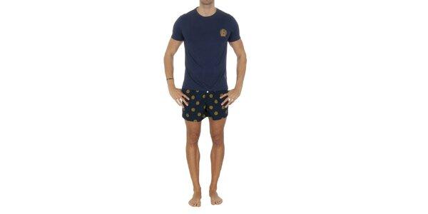 Pánsky modrý pyžamový set so žltými potlačami Tommy Hilfiger