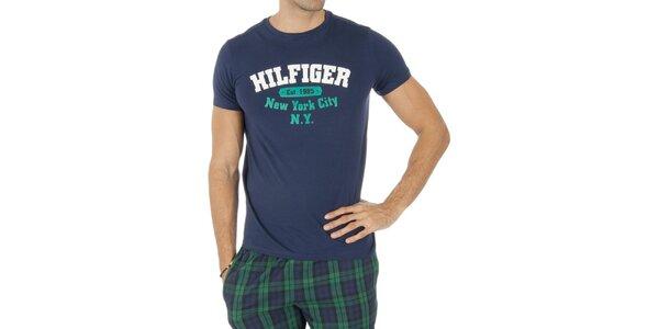 Pánske modré tričko s nápisom Tommy Hilfiger