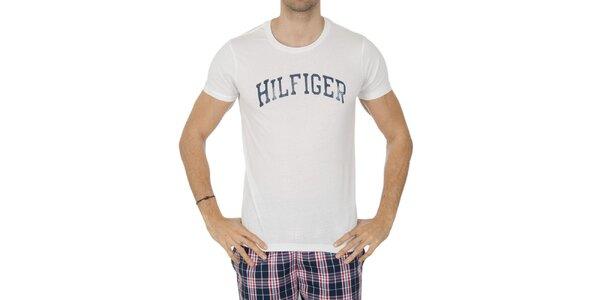 Pánske biele tričko s nápisom Tommy Hilfiger