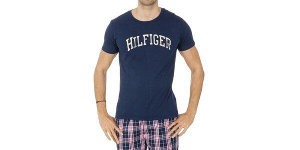 Pánske tmavo modré tričko s nápisom Tommy Hilfiger